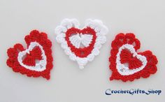 Crochet pattern heart Garland Motif Applique  от crochetgiftsshop