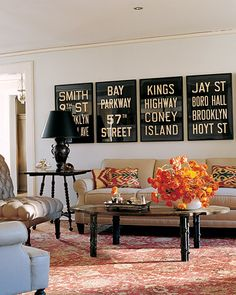 Living room decorated with flea market finds
