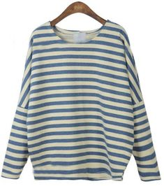 Blue Batwing Long Sleeve Striped Patch T-Shirt