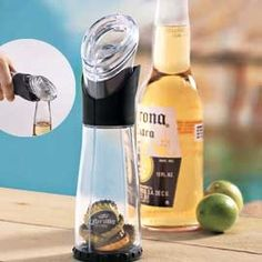 *Beer Bottle No more picking up bottle caps. This clever opener has a Beer Bottle Cap Catcher. One smooth move is all it takes to open your bottle and stash the cap. Comfortable to grip, this opener has a built-in container that collects 30 caps. Gadgets And Gizmos, Cool Gadgets, Beer Bottle, Bottle Caps, Bottle Opener, Things To Buy, Good Things, Kitchen Gadgets, Kitchen Stuff