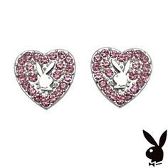 Playboy Earrings Heart Bunny Pink Swarovski Crystals Platinum Plated Studs by…