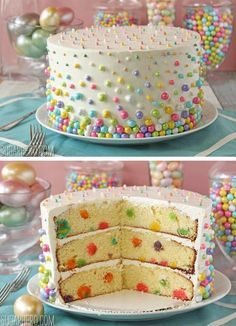 Easter Polka Dot Cake. Decorate both the outside and inside of the cake with a fun dot pattern. It's a perfect way to end a special Easter dinner, or you can use this technique to make any special occasion cake. http://hative.com/creative-easter-party-ideas/
