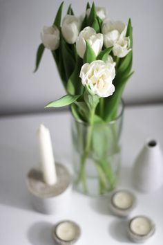 worry about it later: diy: concrete vases and candle holders Candle Holders, Diy Concrete, Candles, Table Decorations, Vases, Interior, Inspiration, Home Decor, Candlesticks