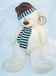 LARGE 25 inch PLUSH  BEAR WITH HAT SCARF blue and brown stripes Hugfun hug fun #Hugfun