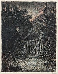 Alfred Kubin - Pipe smoker by the garden gate, illustration for a text by E.T.A. Hoffmann