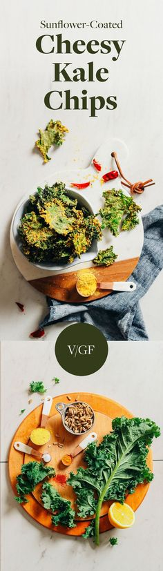 DELICIOUS Crispy Baked Kale Chips coated with Sunflower Seed Cheeze! 7 ingredients, oil-free, SO delicious! #snack #kale #vegan #glutenfree #kalechips #healthy #minimalistbaker #recipe
