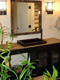badezimmer gestalten feng shui stil pflanzen badspiegel