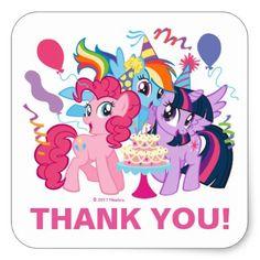 My Little Pony | Pink Birthday Thank You Square Sticker - kids birthday gift idea anniversary jubilee presents