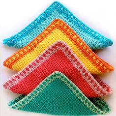 Learn a new crochet technique and make some colorful washcloths - with full instructions