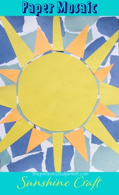 Mar 2020 - This paper mosaic sunshine craft is simple and only requires construction paper, one piece of white paper and glue. Perfect for spring or summer. Summer Crafts For Toddlers, Fun Activities For Kids, Art For Kids, Spring Activites, Kids Fun, Sun Crafts, Arts And Crafts, Easy Crafts, Mosaics For Kids