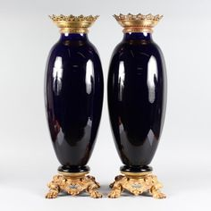 A Large Pair of Gilt-bronze Mounted Sèvres Blue Porcelain Vases.