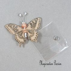 Papillon soie bouton pression beige orangé 5 cm Beige, Orange, Belly Button Rings, Insects, Creations, Brooch, Support, Dimensions, Passion