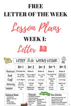 Free Preschool Lesson Plans - letter of the week -letter a # preschool activities lesson plans Letter A FREE Weekly Lesson Plan - This Crafty Mom Daycare Lesson Plans, Pre K Lesson Plans, Lesson Plans For Toddlers, Kindergarten Lesson Plans, Teaching Kindergarten, Teaching Career, Preschool Lesson Plan Template, Infant Lesson Plans, Kindergarten Graduation