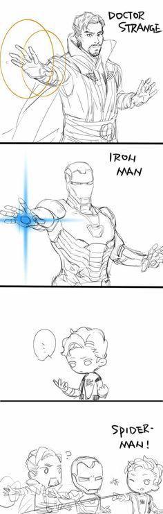 Iron Man, Doctor Strange and Spiderman