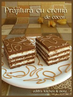 prajitura cu crema de cocos Romanian Desserts, Romanian Food, Oreo Dessert, Dessert Bars, Cookie Recipes, Dessert Recipes, Delicious Desserts, Yummy Food, Christmas Dishes