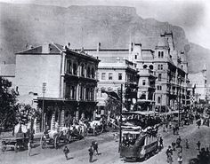 The first overhead trolley-wire operated electric trams were taken into service at Cape Town in Old Photos, Vintage Photos, Cities In Africa, Most Beautiful Cities, African History, Old City, Back In The Day, Cape Town, Old Houses