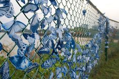 Magnetized Cyanotype Butterfly Installations by Tasha Lewis street art magnets installation cyanotypes butterflies