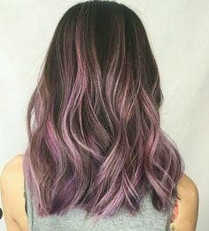 #short #asian #purple #pink #balayage #lob