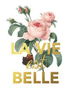La Vie Est Belle Quote Art Life Is Beautiful by PrintableQuirks