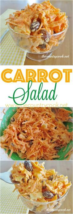 Carrot Salad recipe from The Country Cook. This is a must-make for any of our cookouts. So many are surprised by how much they love it. Filled with sweet carrots plump raisins and juicy pineapple! Carrot Salad Recipes, Country Cook, Cooking Recipes, Healthy Recipes, Side Recipes, Summer Salads, Vegetable Dishes, Soup And Salad, Healthy Eating