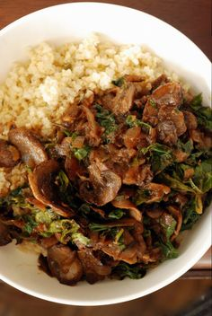 Millet Bowl with Mushroom Gravy and Kale- Delicious!