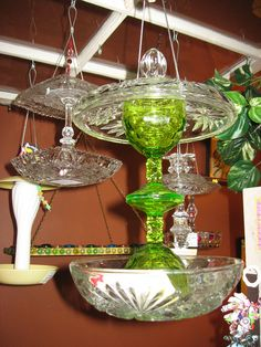 glass bird feeder. I could see a plate being added between the 2 glasses for a 2 layer bird feeder