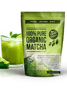Organic Matcha Green Tea Powder Extract - 100% USDA Organic - Fat Burner & Weight Loss Supplement - Energy & Mental Focus Booster - Lattes, Smoothies and Baking - Over 1300 Antioxidants - Improved Hair & Skin Health - Great for Diet - Amino Acid L-Theanine - Fights Cancer with EGCg - http://teacoffeestore.com/organic-matcha-green-tea-powder-extract-100-usda-organic-fat-burner-weight-loss-supplement-energy-mental-focus-booster-lattes-smoothies-and-baking-over-1300-