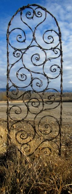 Bodacious Barbed Wire Trellis Bristling With Random Spiky Spirals. A creative and difficult craft.