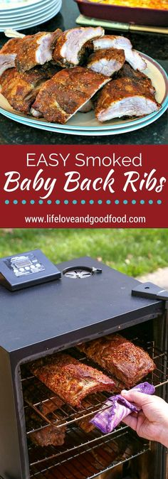 Meaty. Smoky. Juicy. Tender. And EASY! Cook delicious EASY Smoked Baby Back Ribs with just three simple steps in your electric smoker! #porkribs #electricsmoker #babybackribs #recipe #easyrecipe