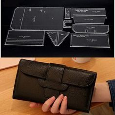 Details about Acrylic long wallet with zipper leather craft Pattern Stencil Template - Daily Good Pin Diy Leather Tote, Leather Wallet Pattern, Sewing Leather, Leather Gifts, Leather Bags Handmade, Handmade Bags, Leather Craft, Leather Purses, Handbag Patterns