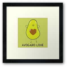 'Avocado Love' Framed Print by Adrian Serghie Love S, Wall Prints, Winnie The Pooh, Disney Characters, Fictional Characters, Stickers, Artwork, Work Of Art, Auguste Rodin Artwork