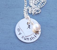 You Are My Sunshine Personalized Necklace, Initial Necklace, Personalized Mommy Necklace, Heart Necklace, Anniversary Gift for Her, Love
