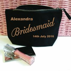 Personalised Bridesmaid Make Up Bag. Wedding Bag. Accessory Bag. Jewelry Pouch. Cosmetic Bag. by SoPinkUK on Etsy