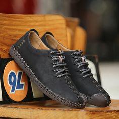 Men British Style Retro Stiching Soft Sole Lace Up Flat Cap-toe Shoes   men shoes fashion