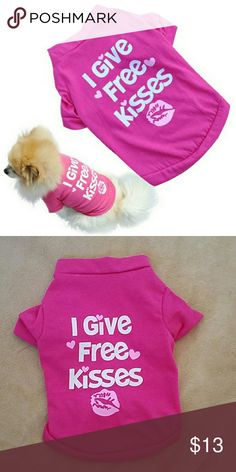 FASHION DOG SHIRT FASHION HOT PINK DOGGIE SHIRT!  SIZE SMALL ! RUNS LIKE AN XS PIC 2 IS ACTUAL SHIRT!  TO SMALL FOR MY LUCKY GIRL YOU KNOW MY SHITZU ! Tops Crop Tops