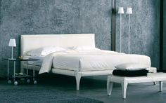 """Bed with a clean-cut decisive shape // Letto dalle forme decise e rigorose (Double Bed / Letto matrimoniale """"Alicudi"""" by Flou) #Beds #Bedroom #Letto #InteriorDesign #HomeDecor #Design #Arredamento #Furnishings #totalwhite"""