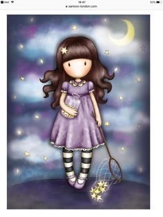 Gorjuss Catch a Falling Star Greetings Card from Santoro London. Features our sweet Gorjuss girl against a night sky, holding a net and a jar full of delicate golden stars. Santoro London, Wrendale Designs, Ways To Show Love, Falling Stars, Golden Star, Girl Inspiration, Illustrations, Shades Of Purple, Cute Drawings