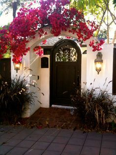i used to want a picket fence. now i think i like this better - arched entry with bougainvillea