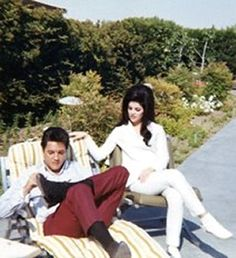 Priscilla and Elvis at their home in Palm Springs, CA, the day after their wedding..