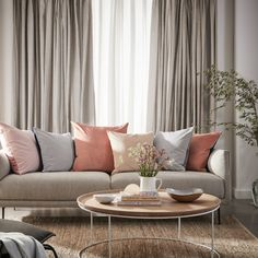 A stunning neutral curtain can enhance any room but its the fabric itself that can really work wonders. High-quality linen adds texture and an effortless sense of sophistication and style to a home. Neutral Curtains, Sheer Linen Curtains, Leaf Curtains, Colorful Curtains, Curtains Living, Living Room Modern, Living Room Decor, Beige Sofa, Room Colors