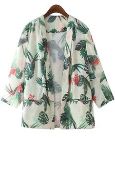 Lapel Floral Leaves Print Blazer
