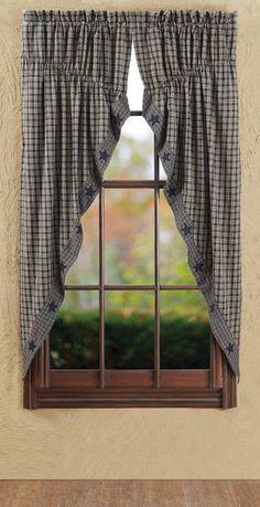 New Primitive Country BROWN TAN CREAM CHECK Plaid Prairie Curtain ...