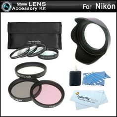 52mm Bundle Lens Accessory Kit For Nikon D5200 D3200 D3100 D5100 D800 DSLR Camera Which Have Any Of These (18-55mm, 55-200mm, 50mm) Nikon Lenses Includes 52mm 3pc High Res. Multi Coated Filter Kit + 52mm Lens Hood + 4pc +1 +2 +4 +10 + Close Up Filter Set by ButterflyPhoto. $24.95. Product DescriptionKit Includes:♦ 1)Vivitar - 52mm Professional MULTI-COATED Glass Filter Kit (UV-CPL-FLD)♦ 2) Zeikos - ZE-HLH52 52mm Hard Rubber Lens Hood♦ 3) Zeikos - Zeikos 3pc Lens Cleaning...