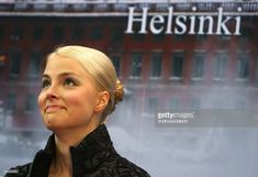 Finland's Kiira Korpi reacts after her grades for her free program at the Hartwall Areena in Helsinki, on January 24, 2009, during the European Figure Skating Championships.