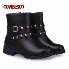 Nuevo Otoño y El invierno Británico de los planos de las mujeres botas cortas de cuero de LA PU de ocio hebillas botines Martin botas de moto botas zapatos(China (Mainland))