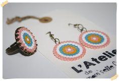 Parure Bague réglable et Boucles d'oreilles en perles Hama et métal