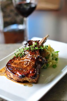 Pork Chop with Balsamic Maple Glaze. Omit butter, use cornstarch to thicken.