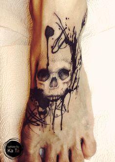 Sketch, skull, foot tattoo on TattooChief.com