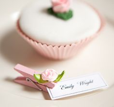 lovely pink rose decorated mini pegs.Such a great idea for place settings