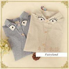 'Fairyland – Eye Embroidered Striped Shirt'
